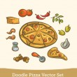 Doodle pizza set — Stock Vector #27875073