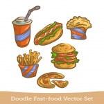 Doodle conjunto de comida rápida — Vector de stock