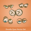 Doodle eyes set — Stock Vector