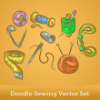 Doodle sewing set — Stock Vector