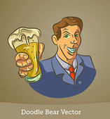 Doodle man with a beer — Stock Vector