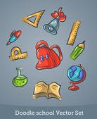 Doodle školní sada — Stock vektor