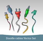 Doodle cable set — Stock Vector