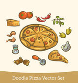 Doodle pizza set — Stock Vector