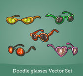 Doodle glasses set — Stock Vector