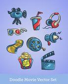 Doodle movie set — Stock Vector
