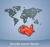 Set de voyage doodle — Vecteur