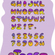 Purple street alphabet and numbers — Stock Vector
