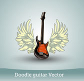 Doodle gitarr med vingar — Stockvektor