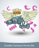 Video camera with wings and crown — Stock Vector
