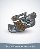 Vectorset stierkomik video kamera — Stok Vektör