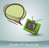 Doodle tv com bolha do discurso — Vetorial Stock