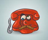 Doodle funny red phone — Stockvektor