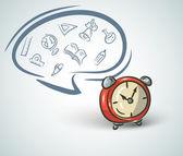 Doodle clock and school set — Stock Vector