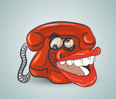 Doodle funny red phone — Stock Vector
