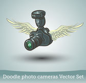 Photo camera with wings — Stock Vector