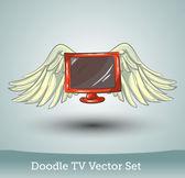 Doodle tv com asas — Vetorial Stock