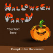 Vector Halloween Party Background with Pumpkin. — Imagens vectoriais em stock