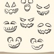 Stock Vector: Jack o lantern pumpkin faces