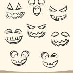 Jack o lantern pumpkin faces — Stock Vector