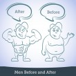 Stock Vector: Men Before and After, vector
