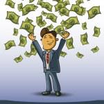 Very happy man under a rain of cash — Stock Vector #29996105