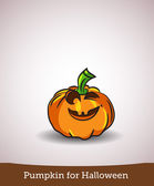 Cartoon of smiling halloween carved pumpkin isolated on white — Stock Vector