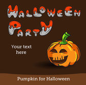 Vector Halloween Party Background with Pumpkin. — ストックベクタ