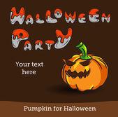 Vector halloween partij achtergrond met pompoen. — Stockvector