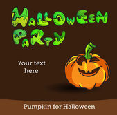 Vector Halloween Party Background with Pumpkin. — Stock Vector