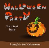 Vector Halloween Party Background with Pumpkin. — Vector de stock