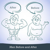 Men Before and After, vector — Stock Vector
