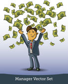 Very happy man under a rain of cash — Stock Vector