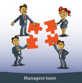 Team of business people collaborate holding up jigsaw puzzle pieces as a solution to a problem — Stock Vector