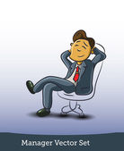 Businessman sitting on office chair — Stok Vektör