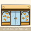 Doodle cheese showcase vector set — Stock Vector