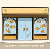 Doodle cheese showcase vector set — Stock Vector