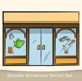 Doodle showcase vector set — Stockvektor