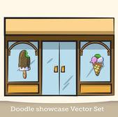 Doodle escaparate vector conjunto — Vector de stock
