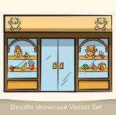 Doodle-schaufenster-vektor-set — Stockvektor