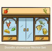 Doodle vetrina set vettoriale — Vettoriale Stock