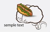 Brain background with hotdog — Vecteur
