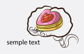 Brain background with cake — Vettoriale Stock