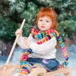 Little girl on sled — Stock Photo #25056929