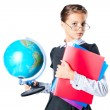 Stock Photo: Schoolgirl holding book and globe