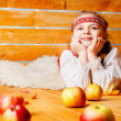 Beautiful girl with apples — Stock Photo