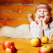 Stock Photo: Beautiful girl with apples