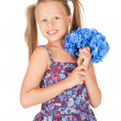 Beautiful girl with a bouquet of blue hydrangeas — Stock Photo #25334221