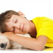 Boy with a puppy — Stock Photo #25334503