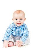 Hilarische baby zit — Stockfoto